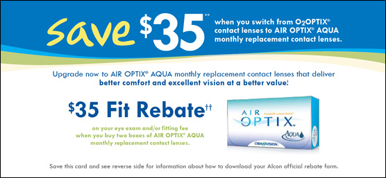 Save up to $ when you get an eye exam and purchase select contact lenses from Alcon. $70 rebate with purchase of 8 boxes (90 count size) or 24 boxes (30 count size) $ rebate with purchase of 8 boxes (90 count size) or 24 boxes (30 count size) and customers who are new to this product. $